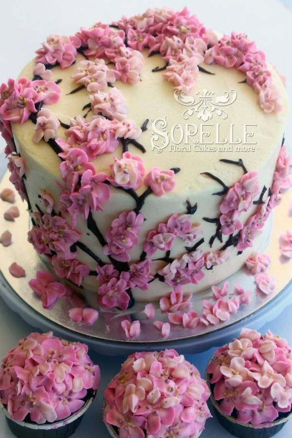 Beautiful Flowery Cake With Pink Blossoms Cake Flowers