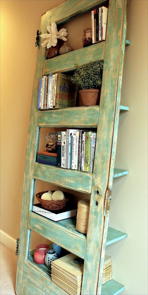 Old door turned into shelf Have NOT seen this before! Love it!