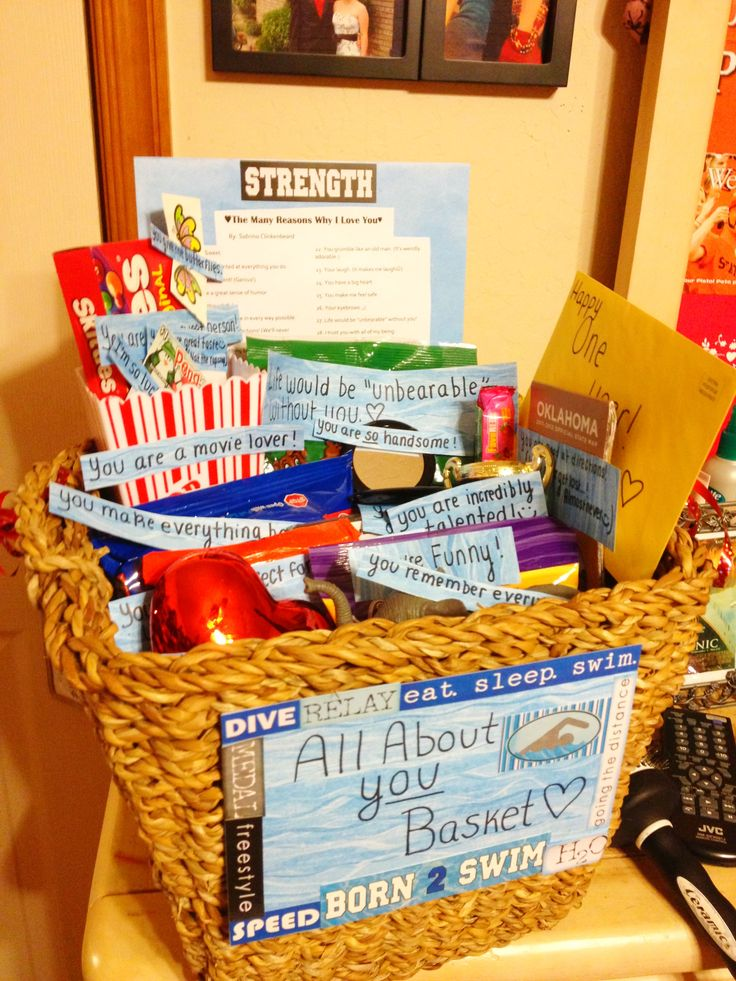 All about you basket for an anniversary very sweet and