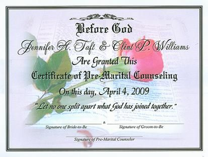 Premarital Certificate Of Completion Template