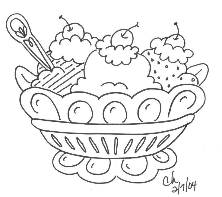 banana split coloring page  ice cream unit  pinterest