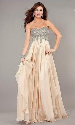 $159.99 – Champagne Sweetheart Long A-Line Empire Evening Dresses YKUK67550 I wo