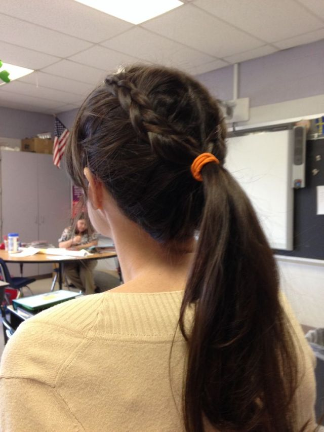 Teacher hairstyle  two French braids going into a ponytail