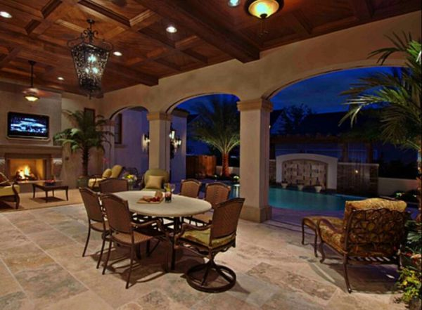 outdoor kitchen with pool and patio Outdoor Entertaining *Elevated from pool area *Inquire