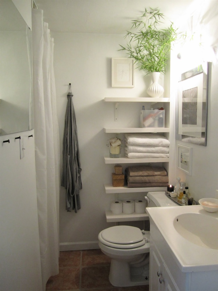Small Bathroom shelving for more room - a possibility for ... on Small Bathroom Ideas Pinterest id=63356