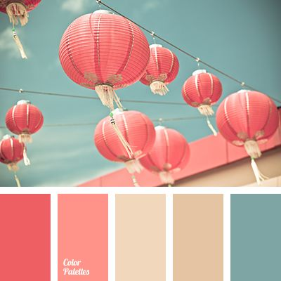 A palette consisting of rather calm tones. Pink and coral match the turquoise splendidly, without creating a significant contrast,