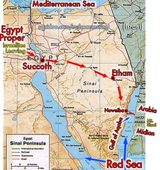 Map showing the route of the Exodus. So where did they go ...