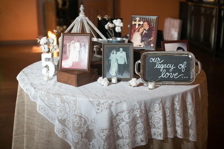 Legacy Table Pictures From Parents And Grandparents Wedding Day Displayed Lace Burlap Chalk