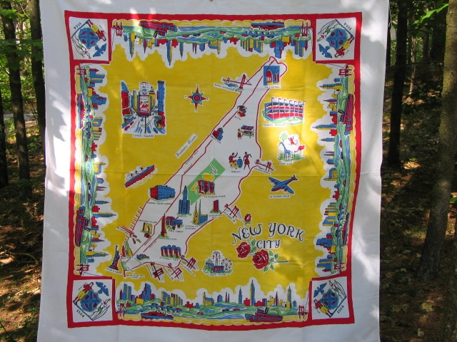 Vintage New York Tablecloth From Retro Redheads For The