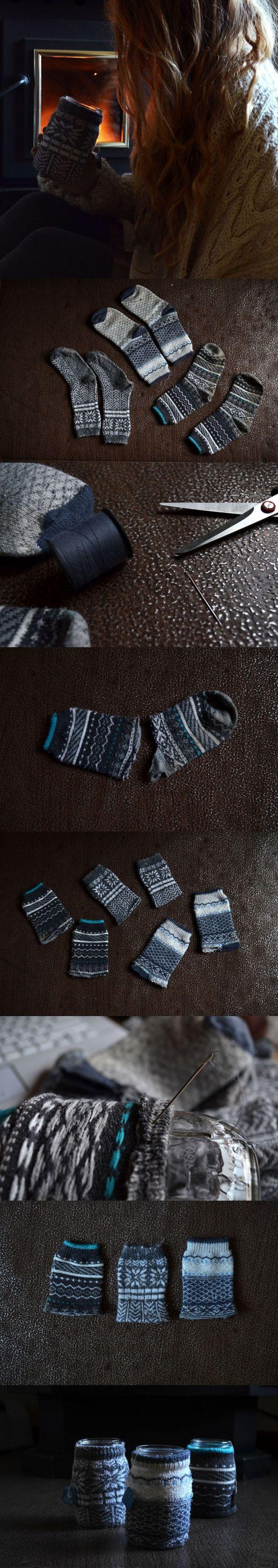 DIY // Mason Jar Cozy Hot Drink Sleeve from Old Socks ...