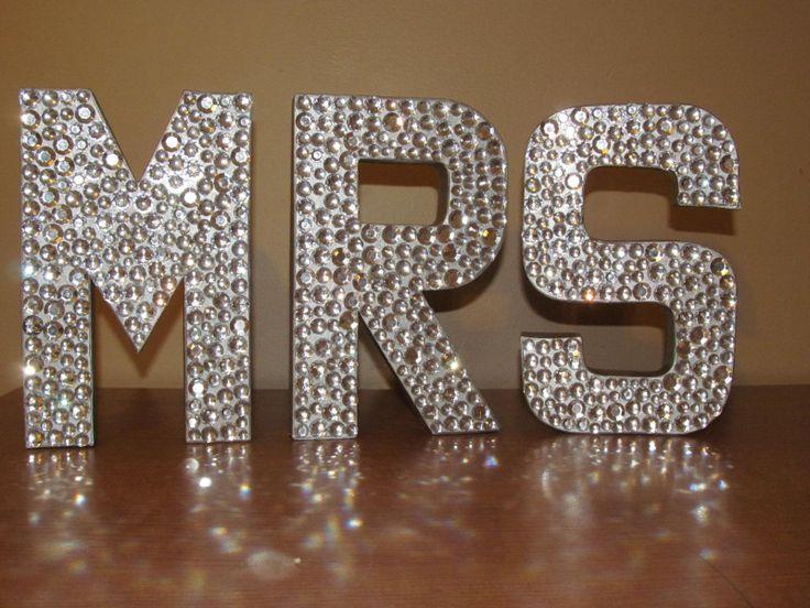 "Gorgeous Rhinestone Monogram Letters ""MR"" And ""MRS"