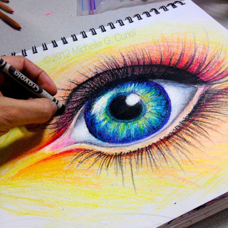 Crayola Eye  Original ART 9×12 with 11×14 Mat by michellecuriel, $99.99