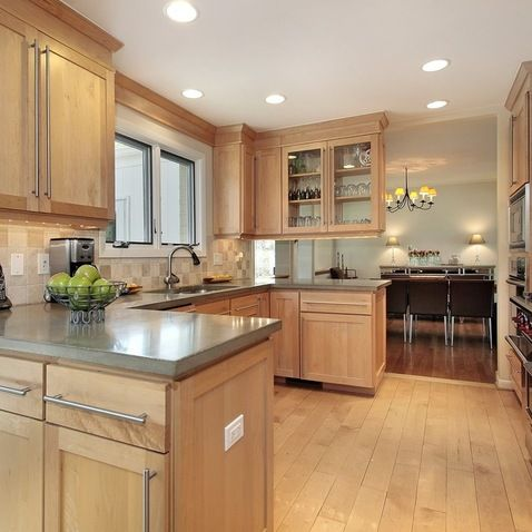 Light Maple Cabinets-- Countertop/Backsplash colour ideas ... on What Color Countertops Go With Maple Cabinets  id=62976