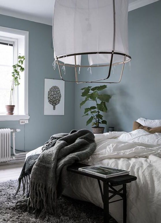 I Really Like This Paint Colour Blue Grey Bedroom Via Coco Lapine Design