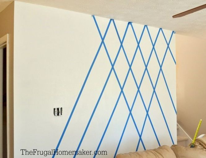 Paint Designs On Walls With Tape Here S The Wall Completely Taped Off And Ready For