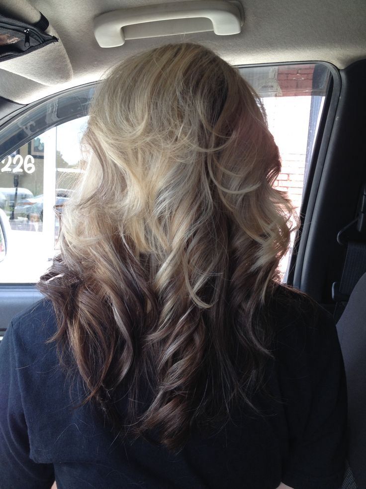 Blonde Highlights On Top Dark Brown Ombre On Bottom Of