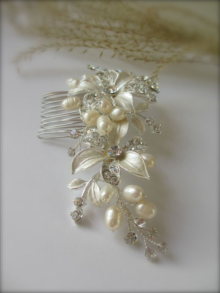 Floral Bridal Hair Comb IVORY Freshwater Pearl