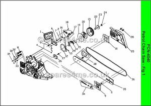 Ryobi pnc4040 spares and spare parts diagrams, click on