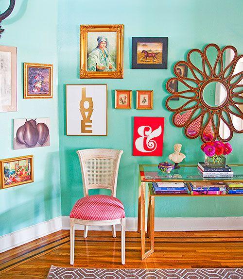 Caitlin Wilson Philadelphia Apartment – Colorful Home Decor – Good Housekeeping–  fun mirror!!