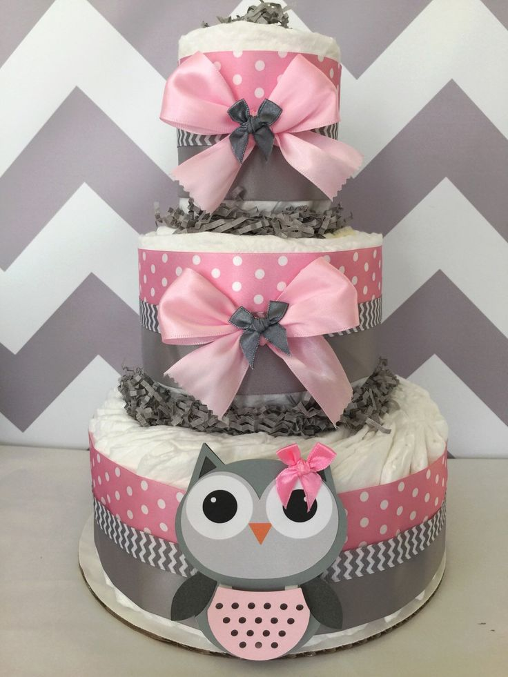 Owl Baby Shower Diaper Cake in Pink and Grey/Owl Baby Shower/Owl Centerpiece by AllDiaperCakes on Etsy www.etsy.com/…