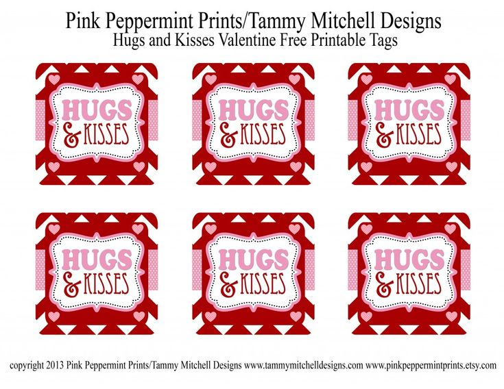 Hugs And Kisses Free Printable Valentine Tag Tammy