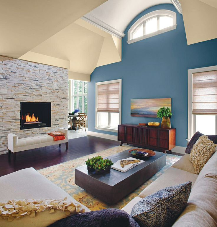 blue accent wall in living room new home ideas on paint for living room walls id=73915