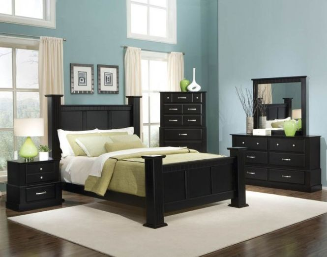 Bold Black Bedroom Furniture With Other Hues Mixture Charming Blue Hard Wood