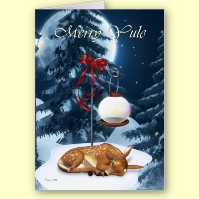 Merry Yule Sleeping Fawn Pagan Holiday Card By XG Designs