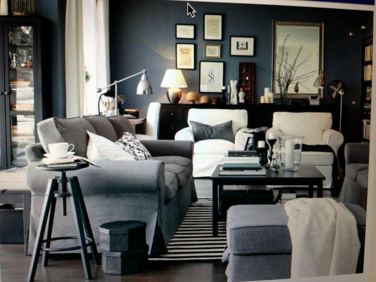 IKEA Living Room - Light Blue/grey - Large Ottoman