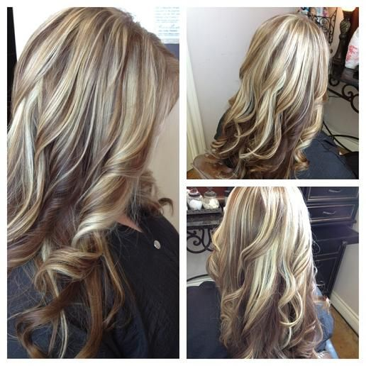 Long Blonde Hair With Red Lowlights Loosely Curled