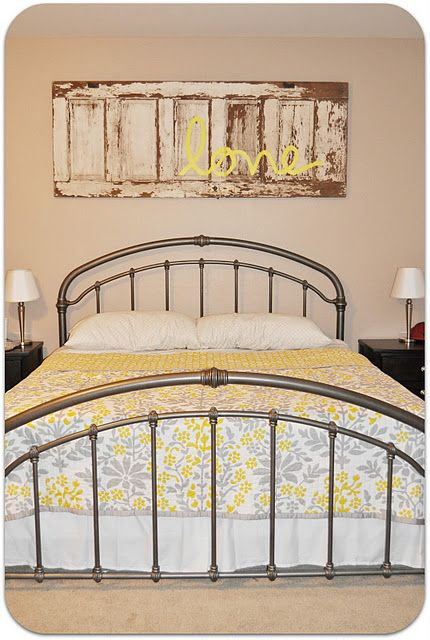 Love this idea of the over the bed design…..I would use a different color than yellow for the word love