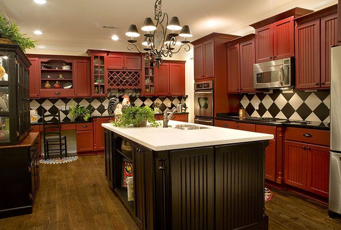 Red Kitchen Cabinets With Black Counter Dont Like