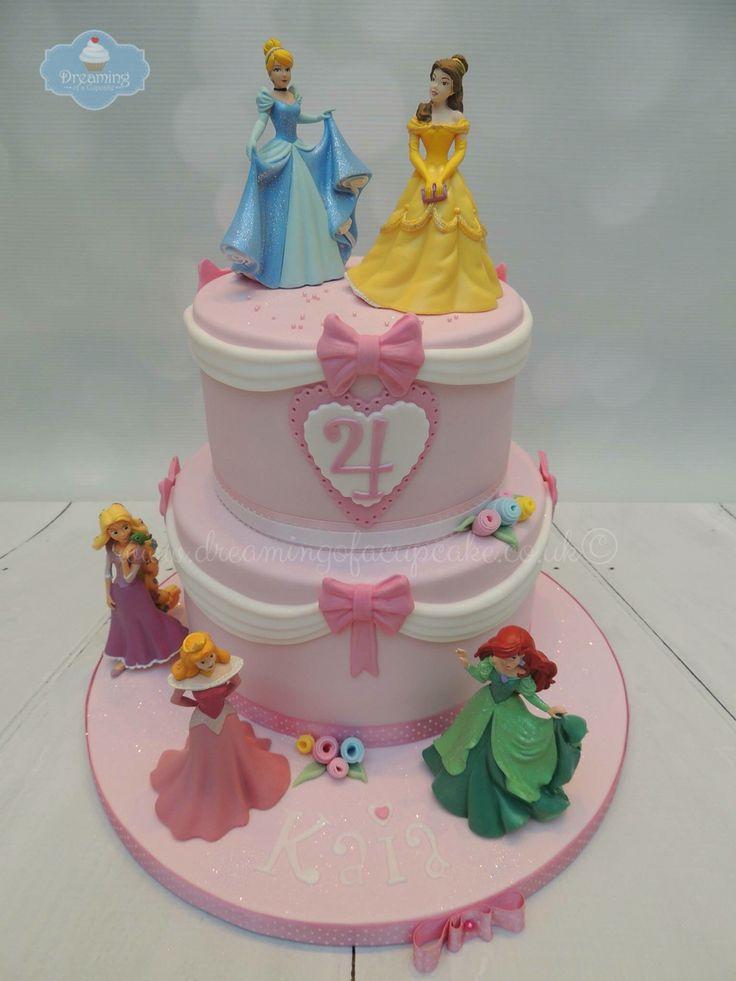 2 Tier Disney Princess Cake Kids Birthdays Pinterest Disney The Ribbon And Disney Princess