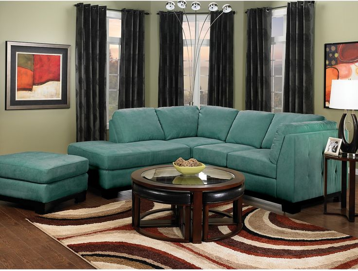 Living Room Furniture Oakdale 2 Piece Microsuede Sectional WLeft Facing Chaise Azure