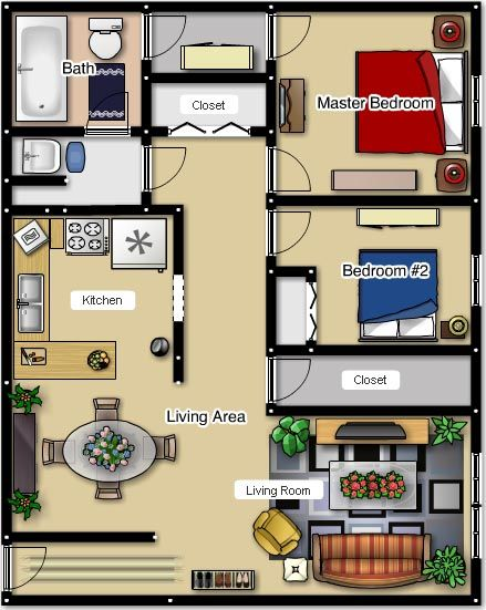Two Bedroom Apartment Floor Plans 1000 Square Foot