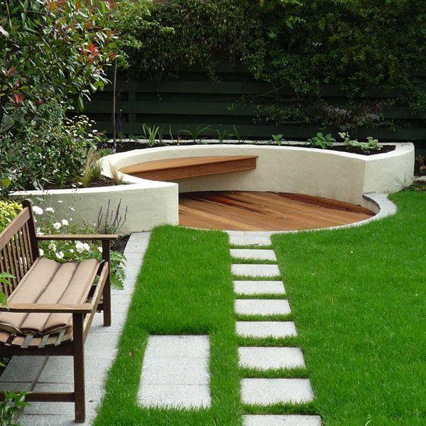 Square concrete pavers (maybe around perimeter of house ... on Square Backyard Design Ideas id=83177