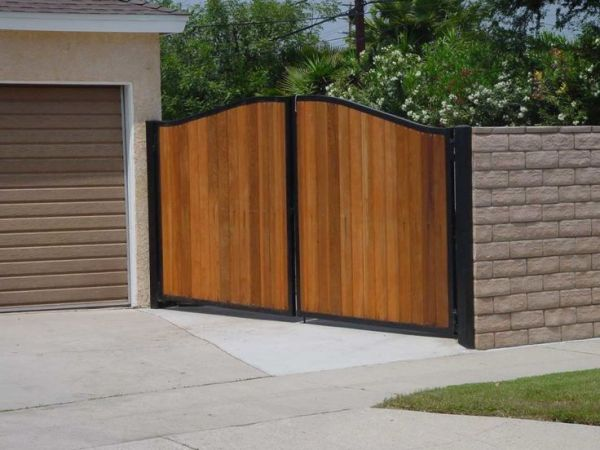 mahogany wood garage grey house  Solid Light Grey