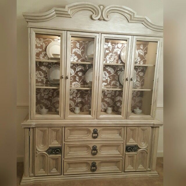 Refinished China Cabinet In Annie Sloans Old Ochre