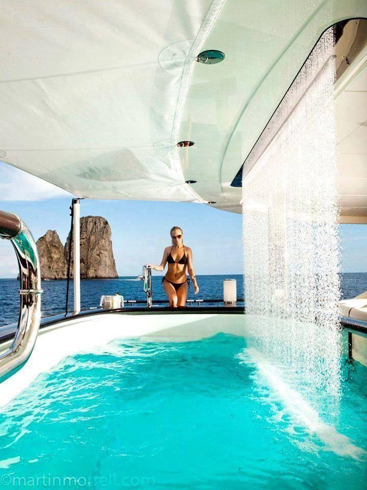 Billionaire Club Karen Cox The Glamorous Life Pool With A Waterfallon A Yacht
