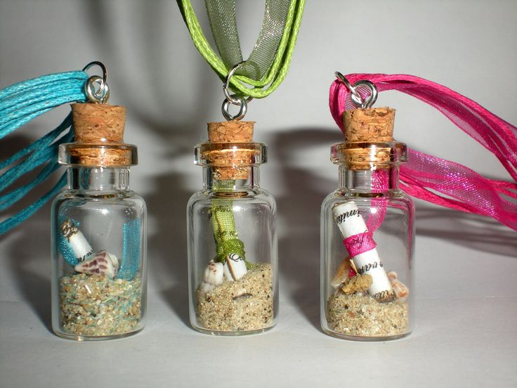 Mini Message In A Glass Bottle Necklace With Cork Bottle