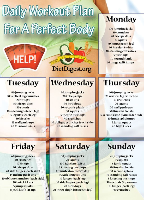 Daily Workout Plan For A Perfect Body Fitness Diet Health Pinterest Good Ideas