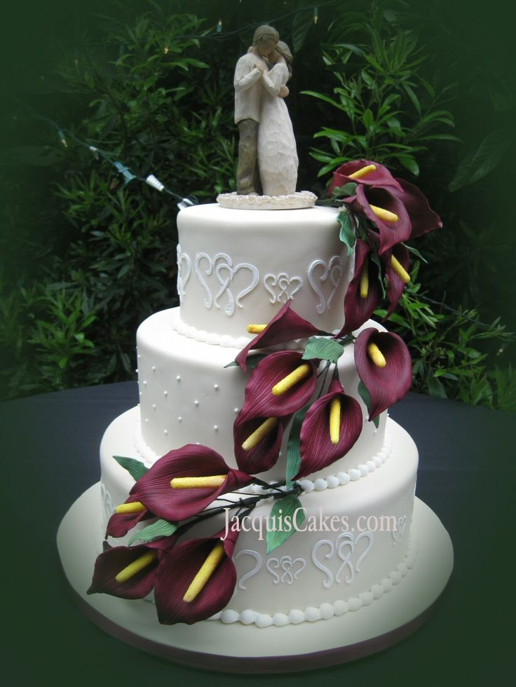 Cascading Burgundy Calla Lilly Wedding Cake This Is