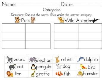 8 Best Images About 1st Grade Categorizing Words On