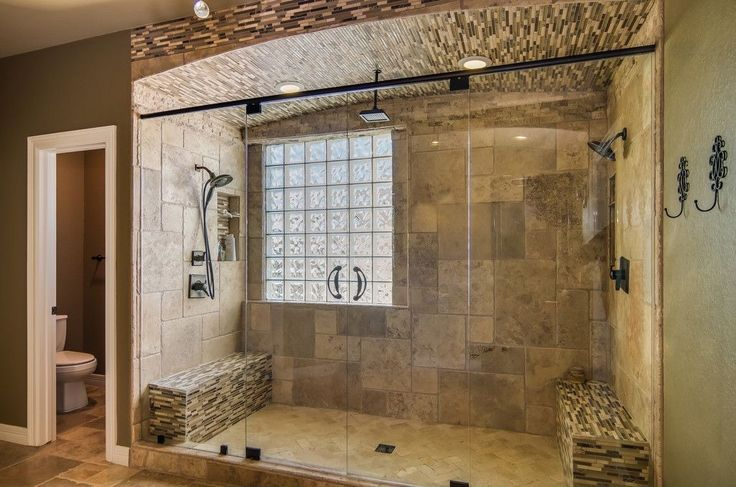 Traditional Master Bathroom With Wall Tiles, Mosaic Tile