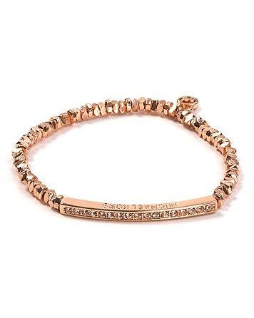 Michael Kors Rose Gold Beaded Pav Bar Bracelet   Bloomingdales. Idea from Real Simple for bridesmaids gift. $65 each.
