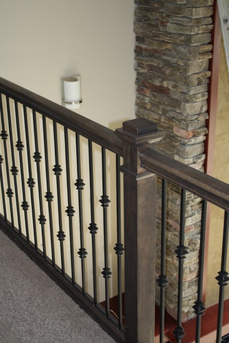 Oak Stair Railing Amp Iron Balusters Contemporary Staircase