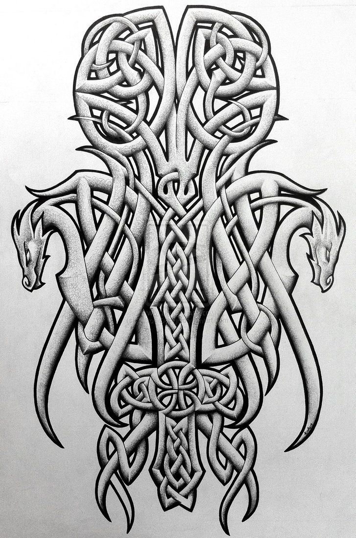 Tattoos Celtic Norse Celtic dragons and cross by Tattoo ...