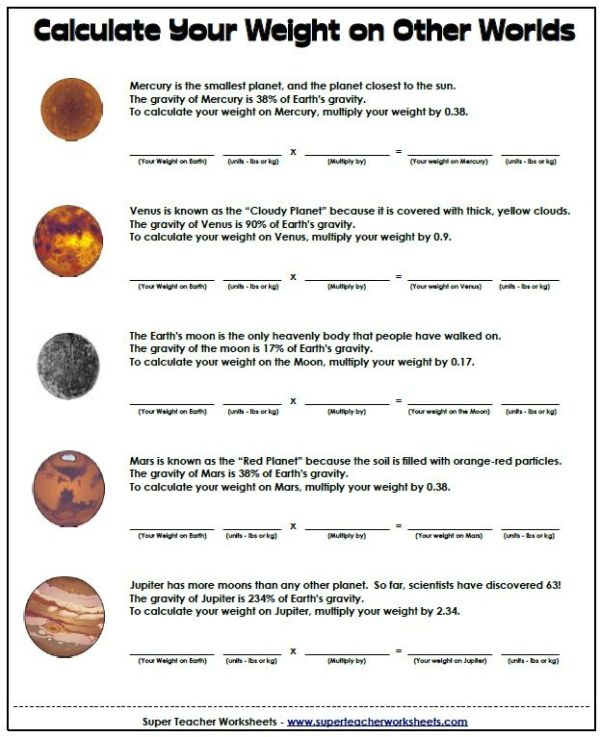 Space & Math Worksheet - Calculate your weight on other ...
