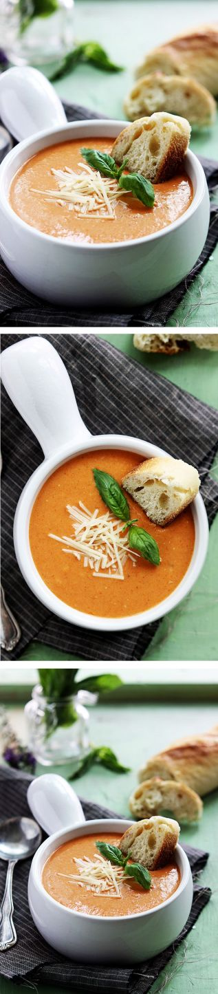 Creamy and rich tomato basil and cheesy parmesan soup made in the crockpot! This recipe gets rave reviews because it is AMAZING!: