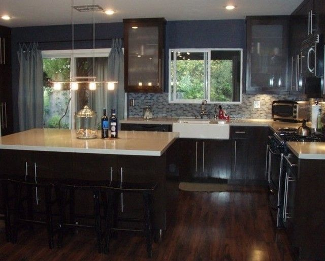 pictures of kitchens with dark cherry cabinets, floors ... on Maple Kitchen Cabinets With Dark Wood Floors Dark Countertops  id=35322